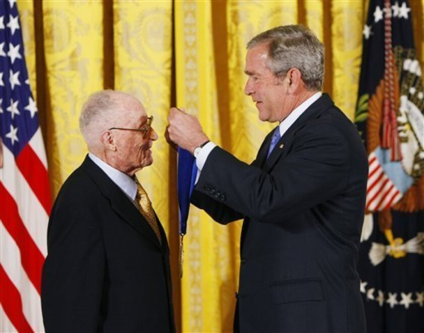 FILE -This Nov. 15, 2007, file photo shows President Bush, right, presenting the 2007 National Medal of Arts to Craig Noel, during a ceremony in the White House in Washington. Noel, the founding director of San Diego's Old Globe who established a vital regional community theater that eventually bec