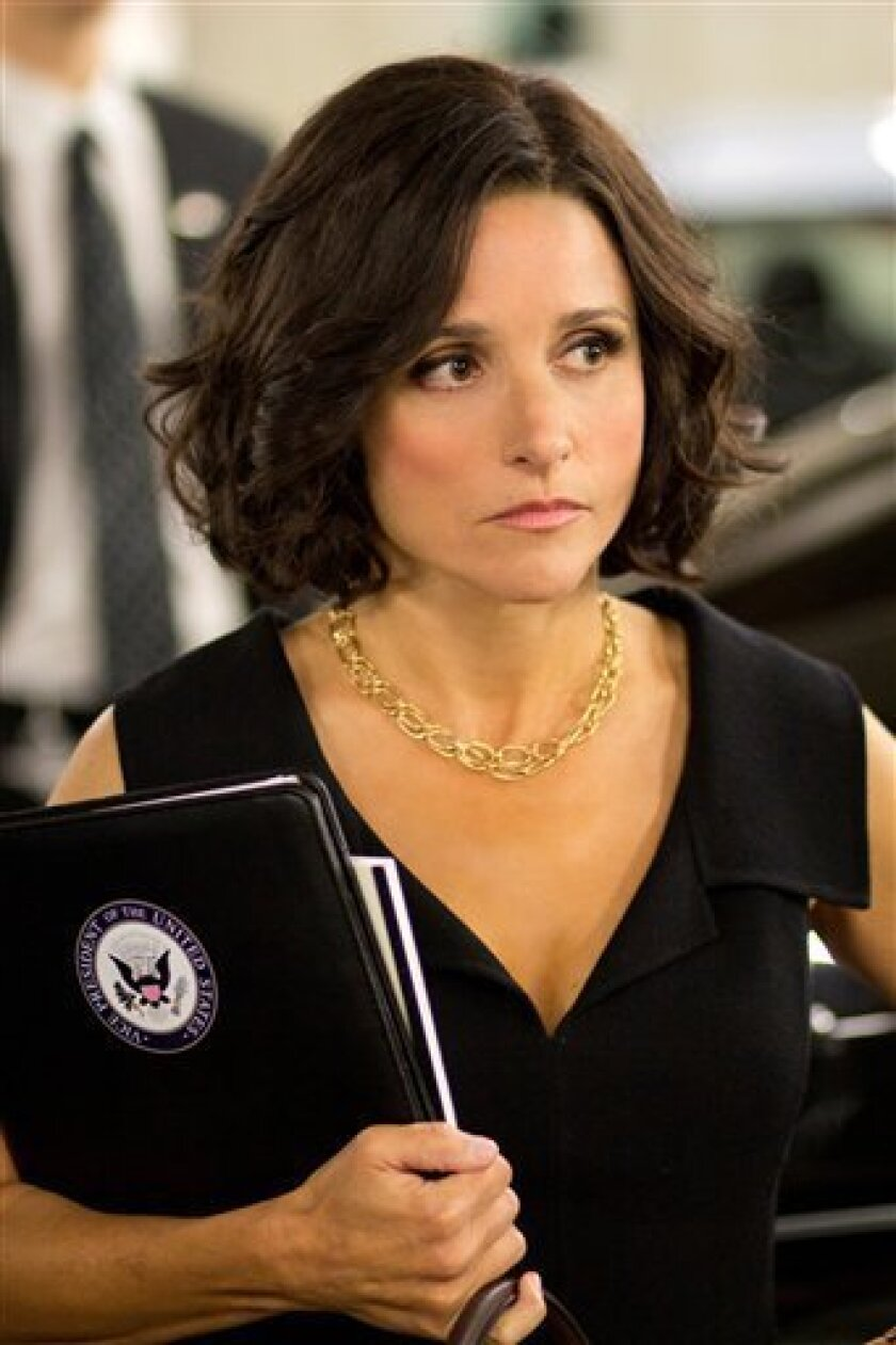 """This Oct. 4, 2011handout photo provided by HBO shows actress Julia Louis-Dreyfus star of the HBO series """"Veep"""". Watch out, Joe Biden. The other vice president is in the house.The White House says Louis-Dreyfus, who plays Vice President Selina Meyer on the HBO comedy """"Veep,"""" is at the White House to"""