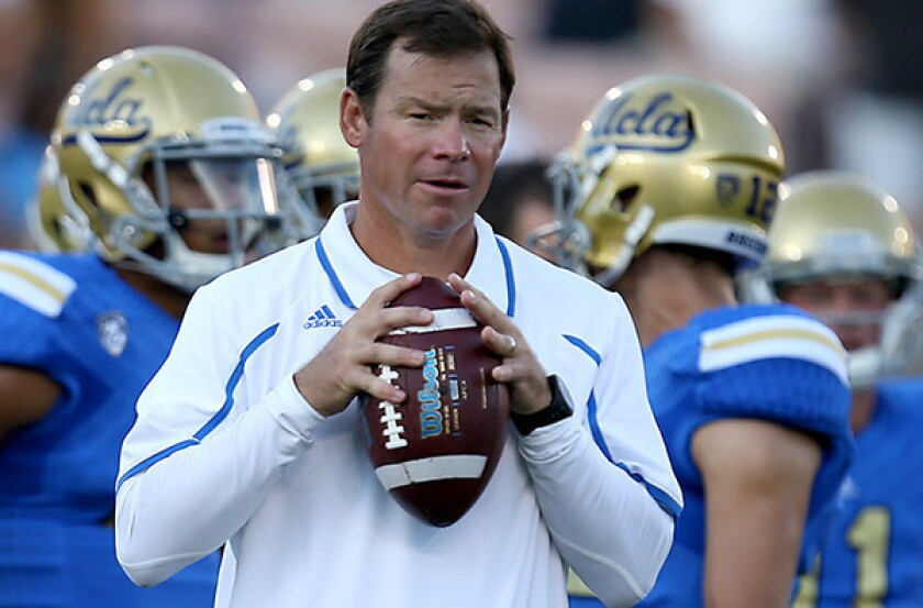 Coach Jim Mora guided UCLA to a 10-3 record last season, including a 42-12 victory over Virginia Tech in the Sun Bowl.
