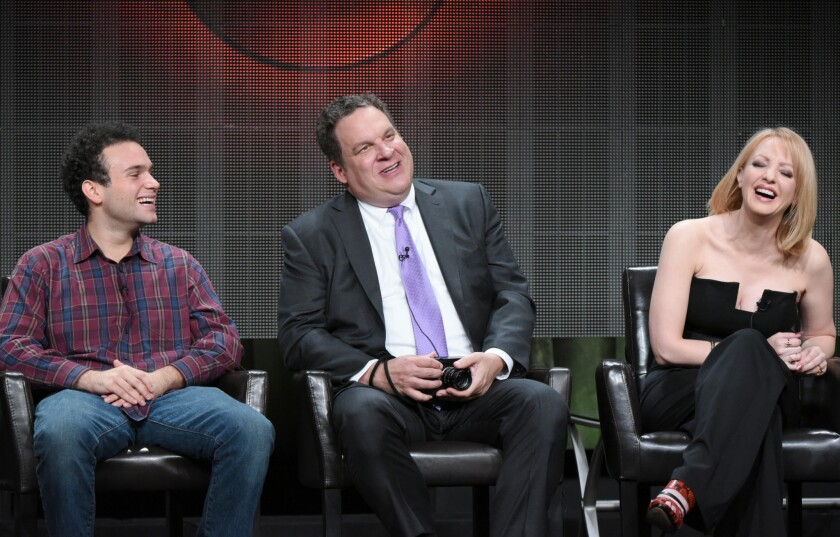 """Jeff Garlin, center, appears at the Disney/ABC Summer TCA press tour with his """"Goldbergs"""" co-stars Troy Gentile and Wendi McLendon-Covey on Aug. 4, 2015, in Beverly Hills."""