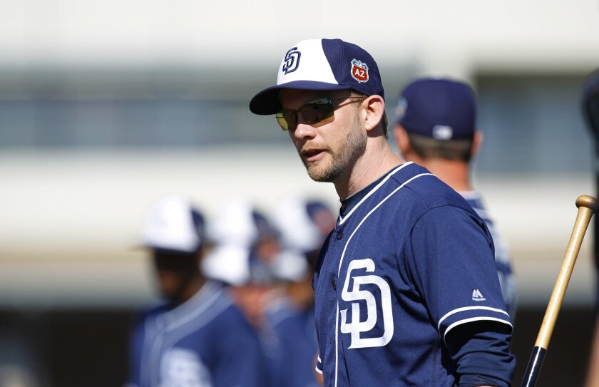 PEORIA, AZ -FEB 24, 2015 - | San Diego Padres manager Andy Green looks on during practice at spring training. | (K.C. Alfred/ San Diego Union-Tribune