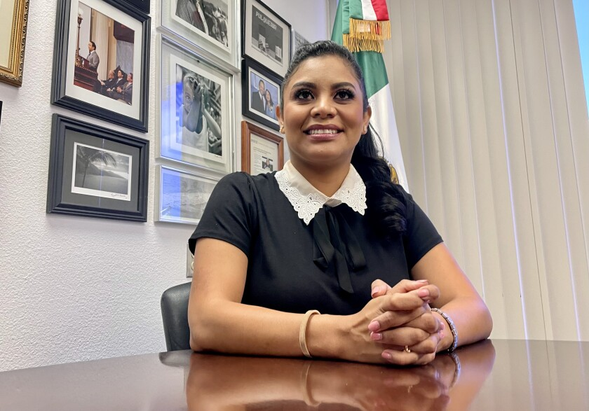 Montserrat Caballero, 39, during an interview at the Mexican Consulate