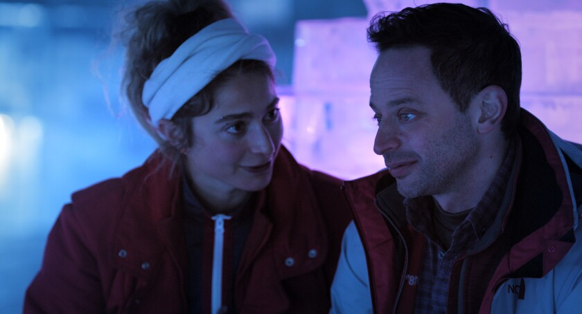 "Alexi Pappas and Nick Kroll in the movie ""Olympic Dreams."""