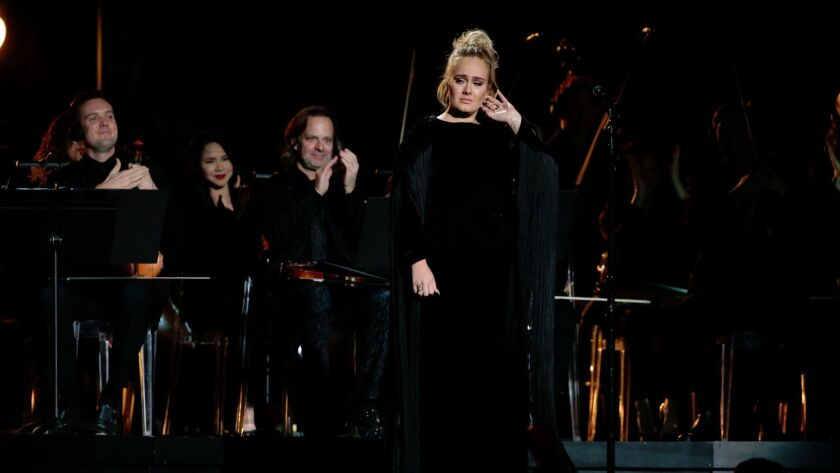 Adele during her tribute to George Michael at Sunday's Grammy Awards.