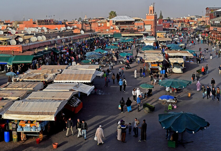 A general view of the market stall at the market square in Marrakech.