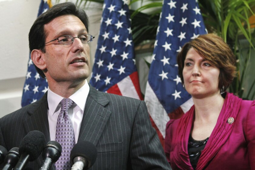 FILE - In this May 3, 2011 file photo, House Majority Leader Eric Cantor of Va., accompanied by Rep. Cathy McMorris Rodgers, R-Wash., speaks to reporters on Capitol Hill in Washington. House Republican leaders took a small step on Friday toward pulling together a viable alternative to President Bar