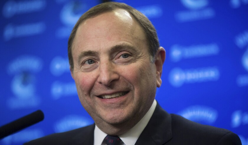 """NHL Commissioner said the fee for prospective expansion teams will """"start with a 5."""" That's a 5 as in $500 million."""