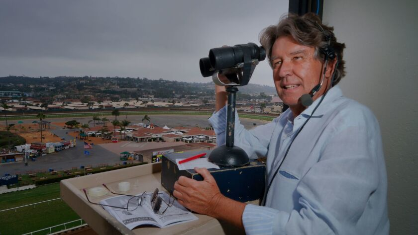 Trevor Denman won't be in his familiar spot this summer atop the grandstand at Del Mar.