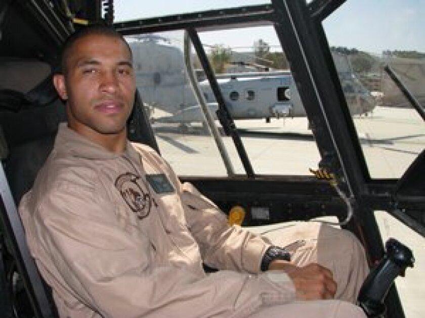 Captain Zerbin Singleton in the CH-46 cockpit. Camp Pendleton, CA. Photo/ Jeanne McKinney