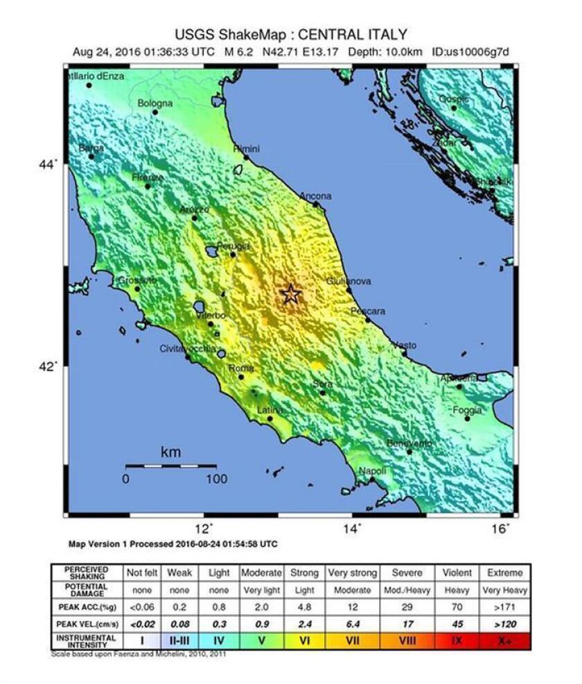 Imagen que muestra la zona en donde se originó el terremoto.