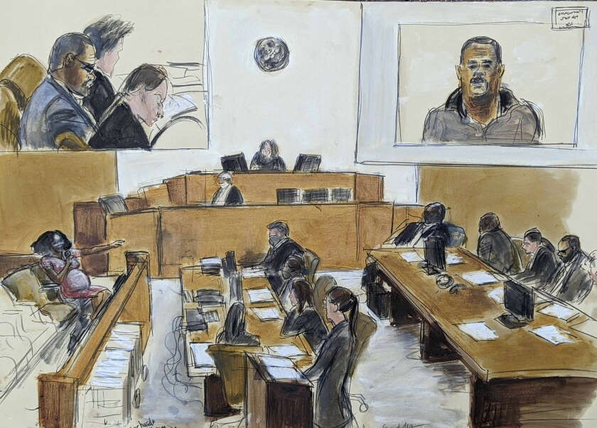 A sketch of a courtroom full of people