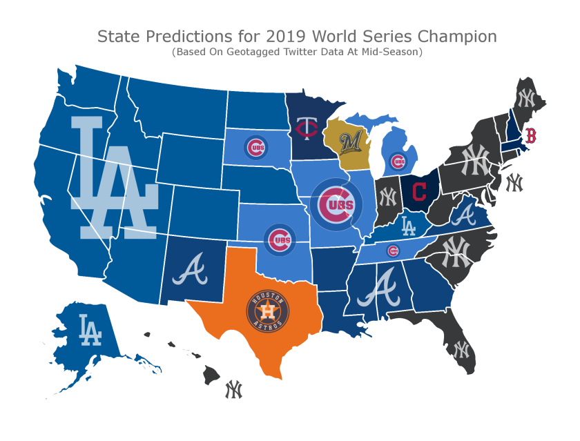 Sports betting insider website Sportsinsider.com put a map together using geotagged twitter data tracking over 100,000 tweets that discuss who will win the 2019 World Series.