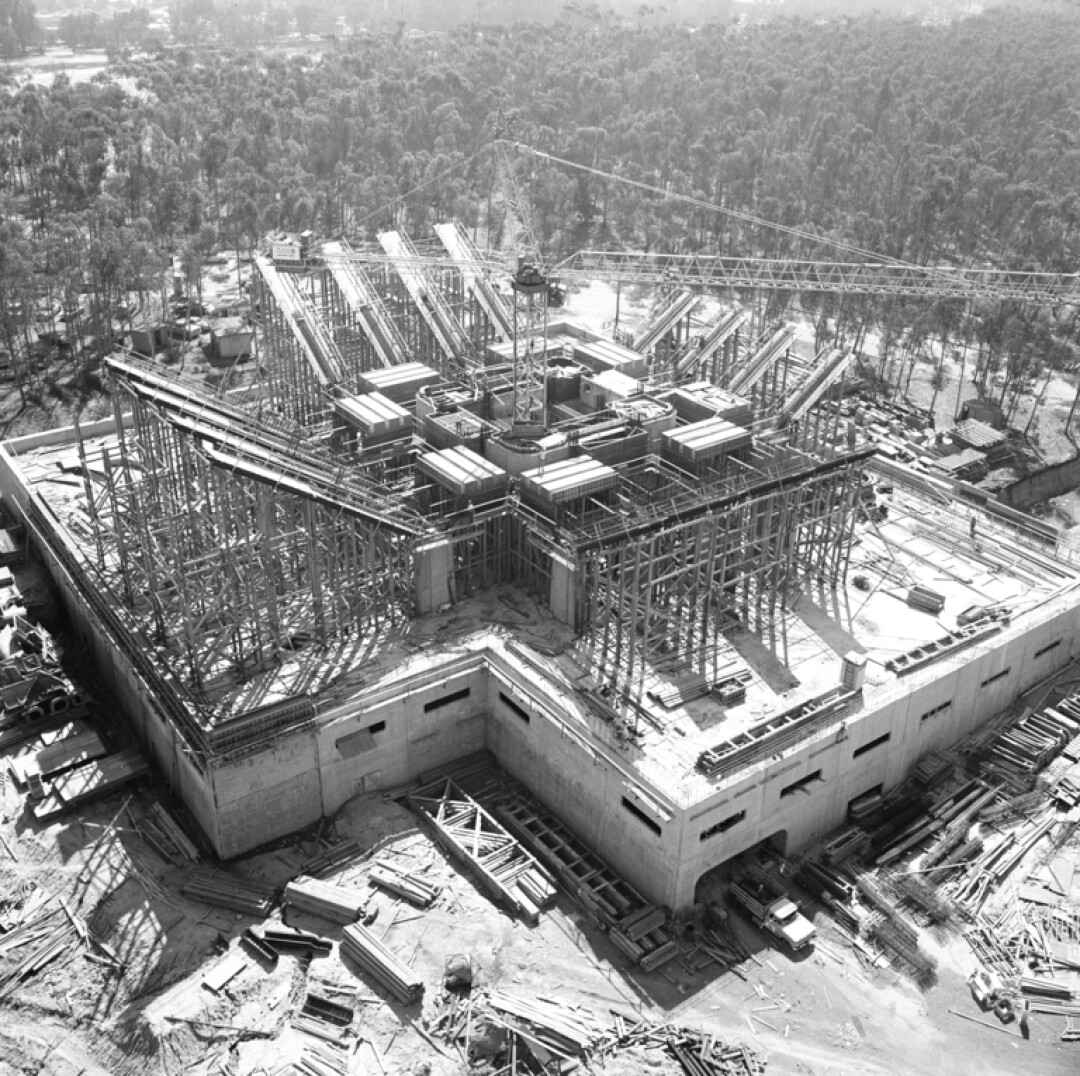 UCSD's Central Library (now Geisel Library) under construction in 1968.