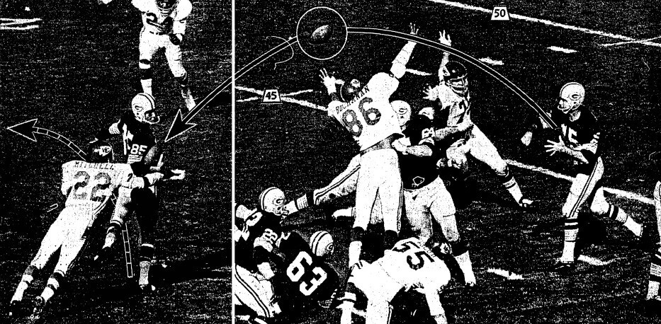 Green Bay's Bart Starr fires a pass toward end Max McGee, who made a one hand grab and then evaded Chiefs' Willie Mitchell (22) for the first Packer score.