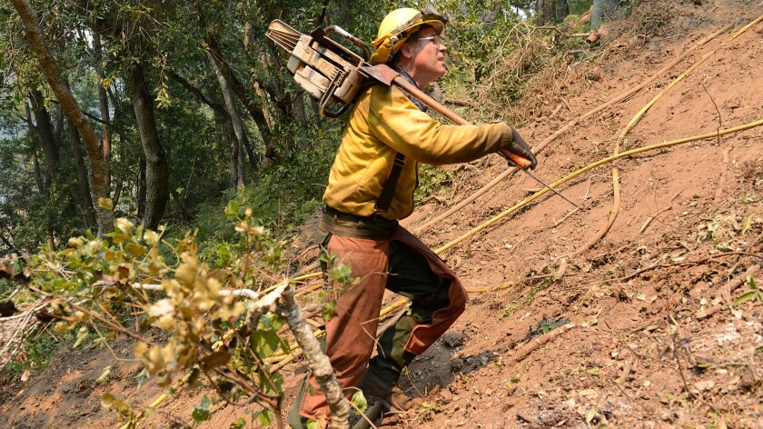 Jeff Turpin hikes up a hillside with a chain saw Saturday while cutting a fire break for the Soberanes fire.
