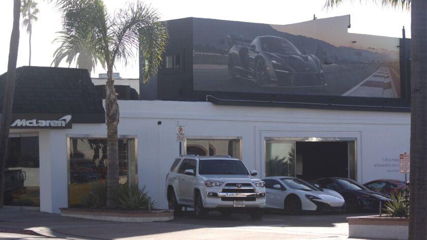 The installation above the O'Gara Coach/McLaren car dealership at 7440 La Jolla Blvd.