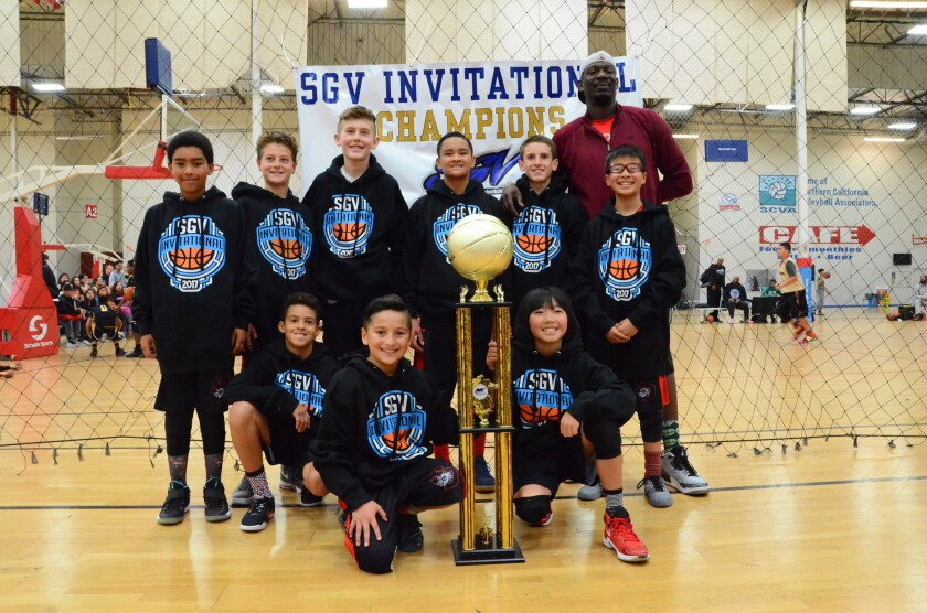 Front row: Dalton Runyon, Christopher Carrillo and Ethan Kim. Back row: Lorenzo Courtney, James Trussell, Warren Notrica, Ron Jay Torres, Lachlan Hetrick, Timmy Lin and Coach Major Wingate.