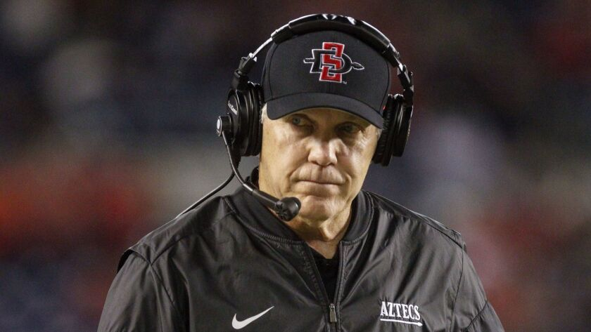 San Diego State, led by head coach Rocky Long, pictured earlier this season, came up short this season in bid to win Mountain West championship.
