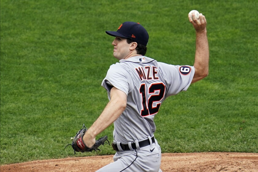 Detroit Tigers' pitcher Casey Mize throws against the Minnesota Twins in the first inning of a baseball game Sunday, Sept. 6, 2020, in Minneapolis. (AP Photo/Jim Mone)