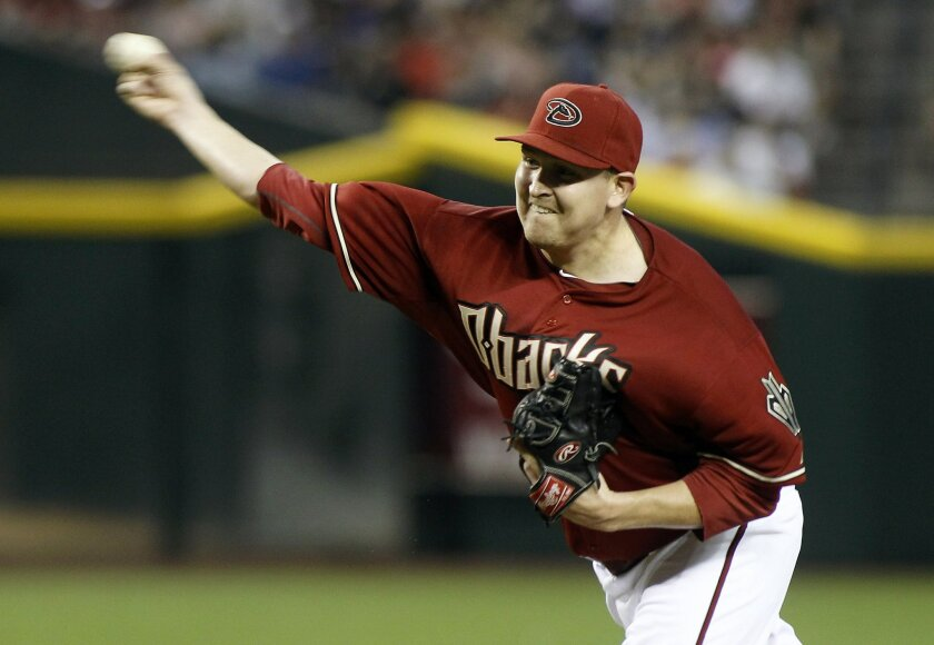 Arizona Diamondbacks pitcher Trevor Cahill will open a four-games series against the Padres on Labor Day. (AP Photo/Ralph Freso)