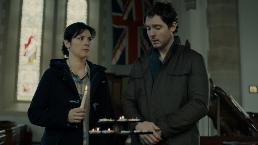 (L-R)- Gemma (Jasmine Hyde) and Will Shields (Richard Flood) are grieving ? and haunted - parents in