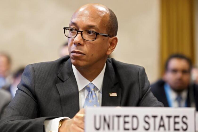 El embajador de EEUU ante la Conferencia de Desarme de la ONU, Robert Wood, durante Conferencia de Desarme de la ONU, en la sede europea de Naciones Unidas en Ginebra, Suiza, hoy, 26 de febrero de 2018. EFE