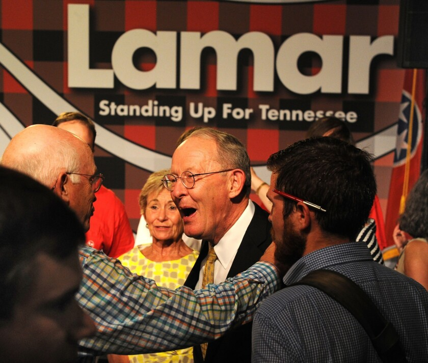 Republican Sen. Lamar Alexander celebrates his primary victory this week in Tennessee. He became the latest senator to fend off a tea party challenge, from state Sen. Joe Carr.