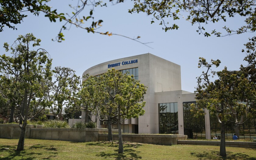 An Everest College campus in Santa Ana owned by Corinthian Colleges Inc. The company said Thursday it has agreed to sell off 56 campuses to a nonprofit student loan guaranty agency.