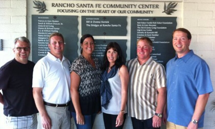 """Rancho Santa Fe Community Center """"All Fore the Community"""" Golf Classic Committee: (L to R)  James Tone, Andy Pollin, Molly Wohlford, Linda Durket, Burnet Wohlford, Tyler Seltzer (Not pictured: Annie and Matt Golden)."""
