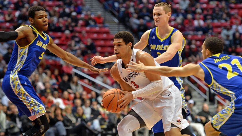 SDSU senior Trey Kell, shown here against San Jose State earlier this month, has pneumonia and is questionable against Colorado State on Wedneday at Viejas Arena.