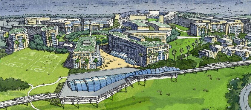 Rendering of proposed San Diego State University west campus. In foreground is reconfigured trolley station. In the background, right, is the Aztec stadium. Credit: Carrier Johnson + Culture
