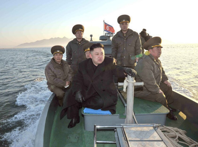North Korea leader Kim Jong Un visiting the Wolnae-do Defence Detachment on the western front line.