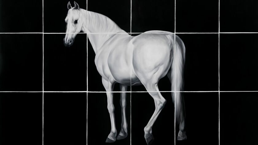 """Reed's painting """"White Horse (after Grant and Stubbs)"""" is on view at Lux Art Institute in Encinitas."""