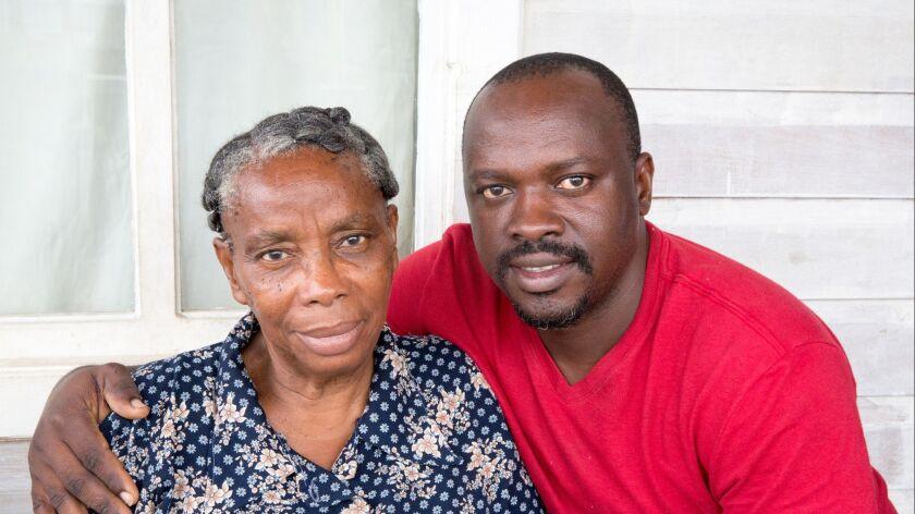Series:Honduran senior woman sitting with her handsome son