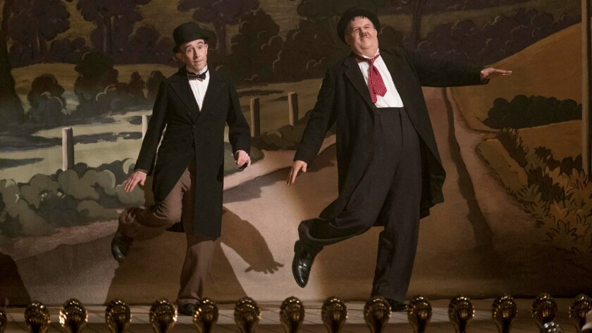 """Steve Coogan, left, as Stan Laurel and John C. Reilly as Oliver Hardy in the movie """"Stan & Ollie."""""""