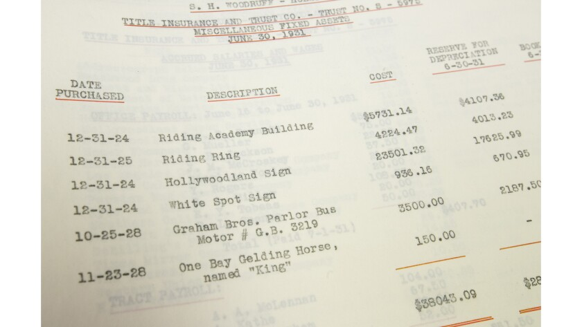 A document illustrating the original cost of the Hollywoodland sign at the Sherman Library.