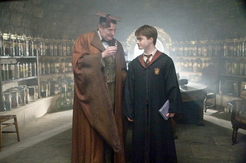 'HALF-BLOOD PRINCE': Broadbent, left, plays professor Horace Slughorn, a colorful faculty member at Hogwarts Academy. Daniel Radcliffe returns as Harry Potter.