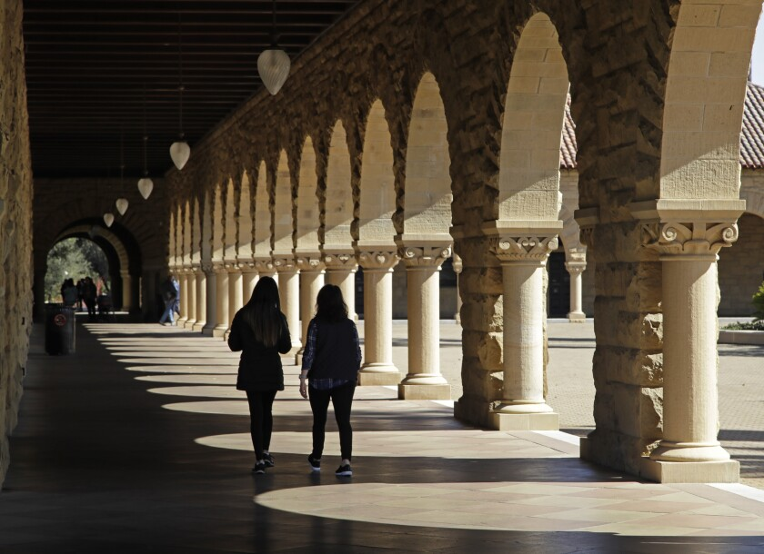 File photo as students walk on the Stanford University campus.