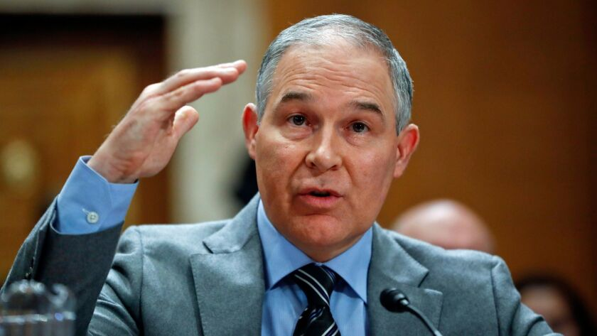 EPA chief Scott Pruitt, shown testifying before a Senate committee in January, spent more than $43,000 of agency funds for a soundproof phone booth in his office.
