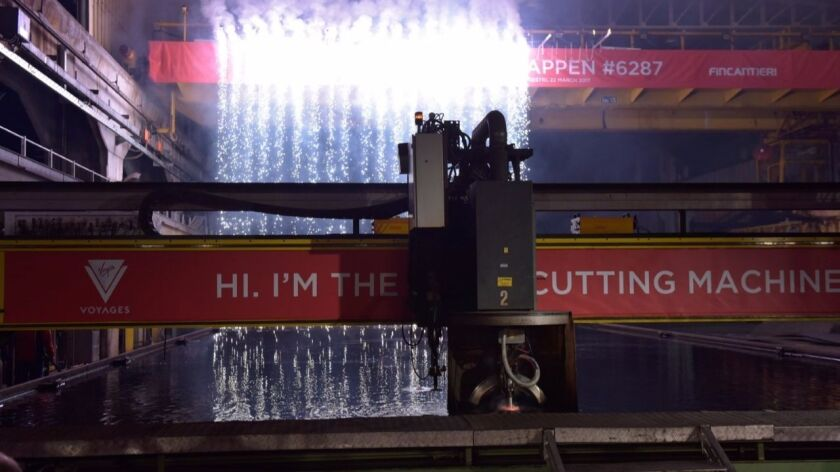 Cruise lines usually mark the beginning of new ships with the cut of the first steel piece.