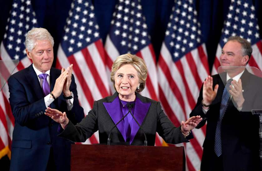 Hillary Clinton delivers her concession speech on Nov. 9, 2016.