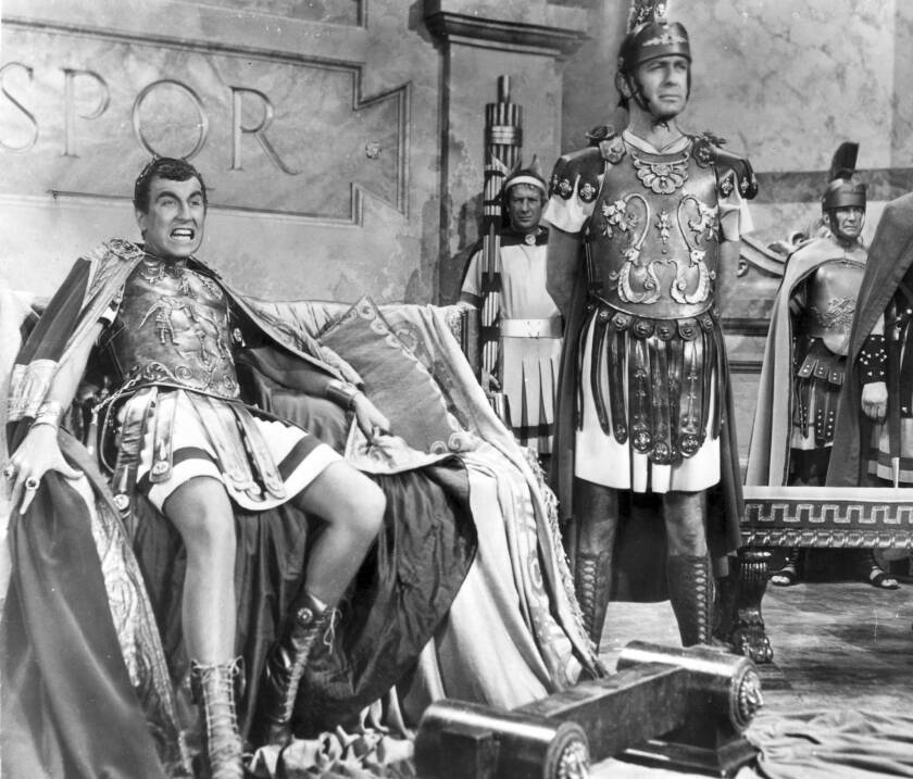 """Jay Robinson, left, as madman Caligula in 1953's """"The Robe."""""""