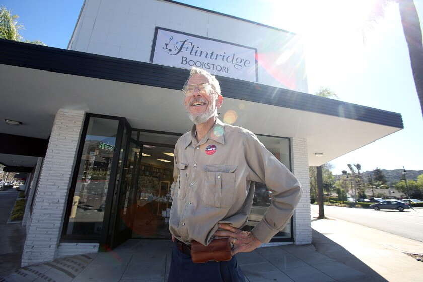 Bookstore owner Peter Wannier stands in front of his new Flintridge Bookstore location in La Cañada Flintridge on Tuesday. Wannier said the business never closed as it moved between the locations.