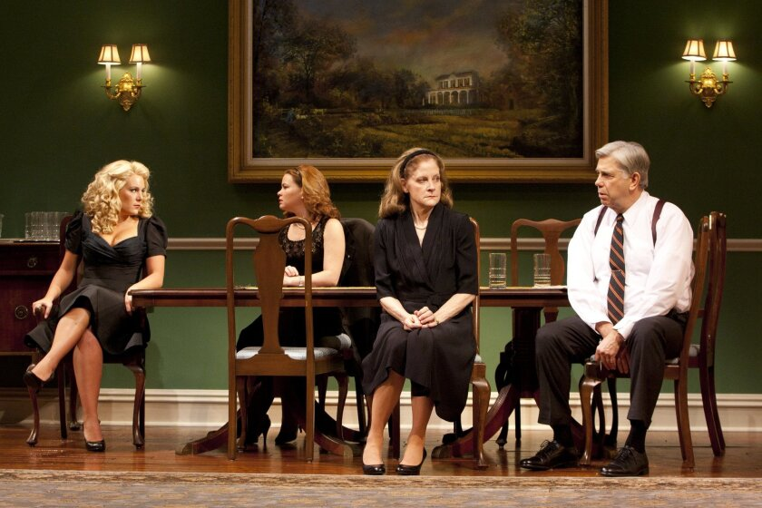 """Jenny Dare Paulin, Nicole Lowrance, Hallie Foote and James DeMarse (left to right) in the West Coast premiere of Horton Foote's """"Dividing the Estate"""" at the Old Globe Theatre."""