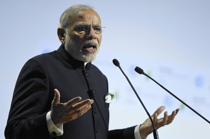 """Climate change is not of our making,"" Indian Prime Minister Narendra Modi said Monday at the climate conference in France."