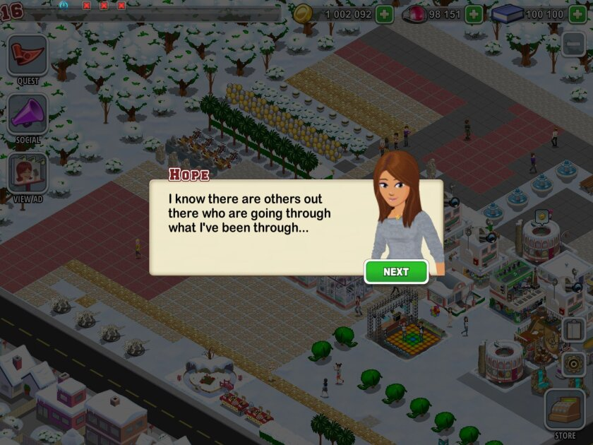 The popular mobile game High School Story features a quest to help a girl named Hope who is being targeted by online bullying.