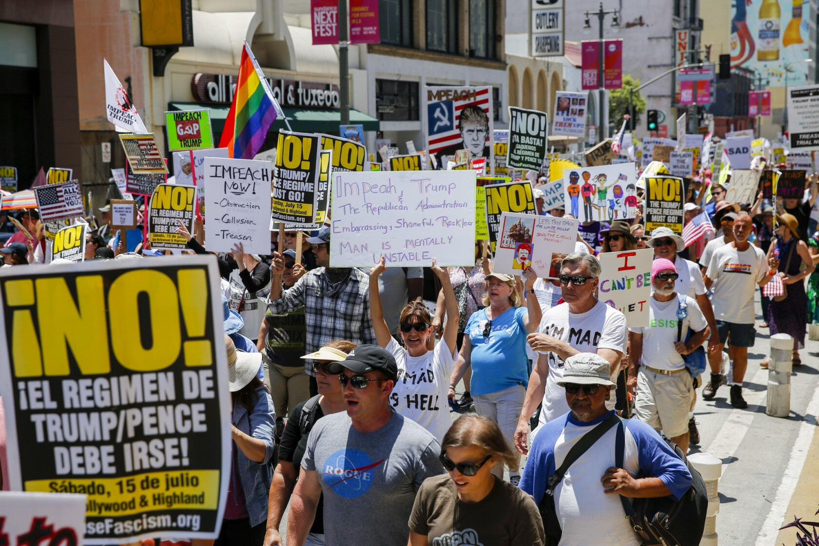 Thousands march in L.A. for impeachment of President Trump; his ...