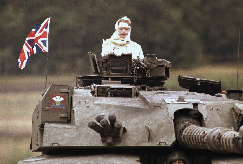 Then-Prime Minister Margaret Thatcher visits British troops stationed in West Germany in 1986. A biography of Thatcher has been shortlisted for the Orwell Prize.