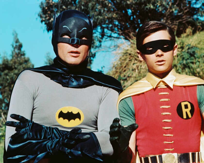 "Adam West, left, stars as Bruce Wayne/Batman, and Burt Ward is Dick Grayson/Robin in the TV series ""Batman"" in 1966."