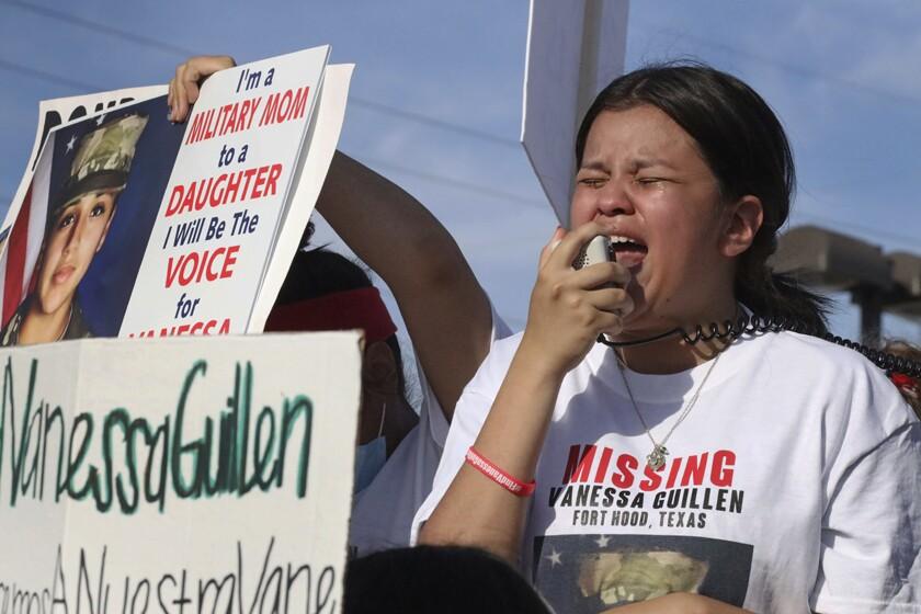 Lupe Guillen, younger sister of Vanessa Guillen, addresses a crowd near Ft. Hood.
